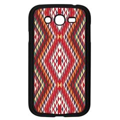 Indian Pattern Sweet Triangle Red Orange Purple Rainbow Samsung Galaxy Grand DUOS I9082 Case (Black)