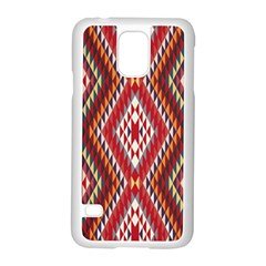 Indian Pattern Sweet Triangle Red Orange Purple Rainbow Samsung Galaxy S5 Case (White)