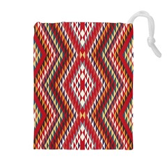 Indian Pattern Sweet Triangle Red Orange Purple Rainbow Drawstring Pouches (Extra Large)
