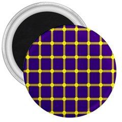 Optical Illusions Circle Line Yellow Blue 3  Magnets