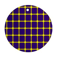 Optical Illusions Circle Line Yellow Blue Ornament (Round)