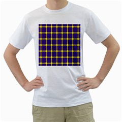 Optical Illusions Circle Line Yellow Blue Men s T-Shirt (White) (Two Sided)