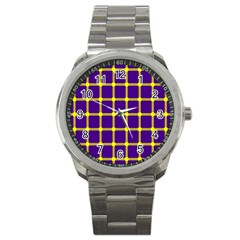Optical Illusions Circle Line Yellow Blue Sport Metal Watch