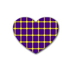 Optical Illusions Circle Line Yellow Blue Heart Coaster (4 pack)
