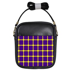 Optical Illusions Circle Line Yellow Blue Girls Sling Bags