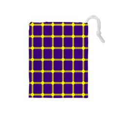 Optical Illusions Circle Line Yellow Blue Drawstring Pouches (Medium)