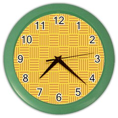 Plaid Line Orange Yellow Color Wall Clocks