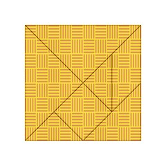 Plaid Line Orange Yellow Acrylic Tangram Puzzle (4  x 4 )