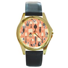 Lamps Round Gold Metal Watch