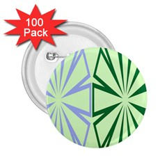 Starburst Shapes Large Green Purple 2 25  Buttons (100 Pack)