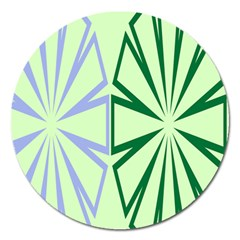 Starburst Shapes Large Green Purple Magnet 5  (round)