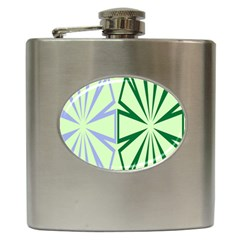Starburst Shapes Large Green Purple Hip Flask (6 Oz)