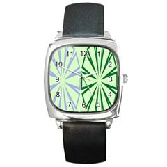 Starburst Shapes Large Green Purple Square Metal Watch