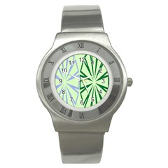 Starburst Shapes Large Green Purple Stainless Steel Watch