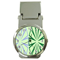 Starburst Shapes Large Green Purple Money Clip Watches
