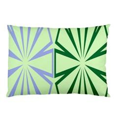 Starburst Shapes Large Green Purple Pillow Case