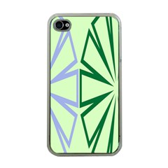 Starburst Shapes Large Green Purple Apple iPhone 4 Case (Clear)
