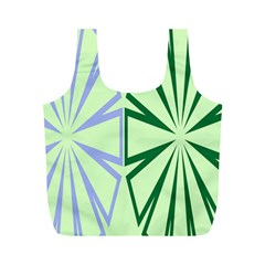 Starburst Shapes Large Green Purple Full Print Recycle Bags (M)