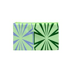 Starburst Shapes Large Green Purple Cosmetic Bag (XS)