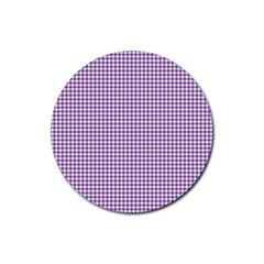 Purple Tablecloth Plaid Line Rubber Round Coaster (4 Pack)