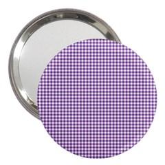 Purple Tablecloth Plaid Line 3  Handbag Mirrors