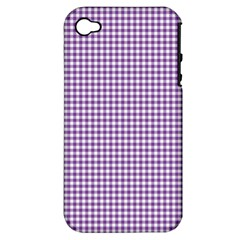 Purple Tablecloth Plaid Line Apple iPhone 4/4S Hardshell Case (PC+Silicone)