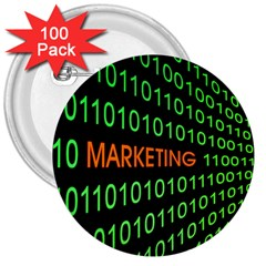 Marketing Runing Number 3  Buttons (100 Pack)