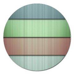 Modern Texture Blue Green Red Grey Chevron Wave Line Magnet 5  (Round)