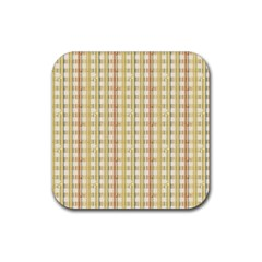 Tomboy Line Yellow Red Rubber Square Coaster (4 Pack)