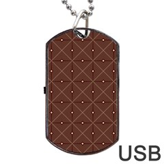 Coloured Line Squares Plaid Triangle Brown Line Chevron Dog Tag Usb Flash (two Sides)