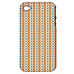 Sunflower Orange Gold Blue Floral Apple iPhone 4/4S Hardshell Case (PC+Silicone)