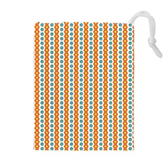Sunflower Orange Gold Blue Floral Drawstring Pouches (Extra Large)