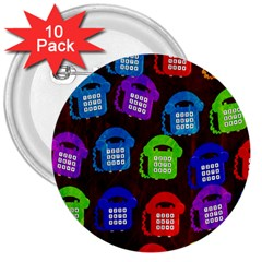 Grunge Telephone Background Pattern 3  Buttons (10 Pack)