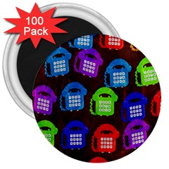 Grunge Telephone Background Pattern 3  Magnets (100 Pack)