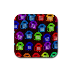 Grunge Telephone Background Pattern Rubber Square Coaster (4 Pack)
