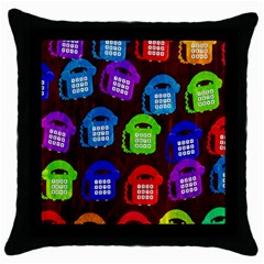 Grunge Telephone Background Pattern Throw Pillow Case (Black)