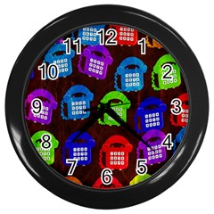 Grunge Telephone Background Pattern Wall Clocks (black)