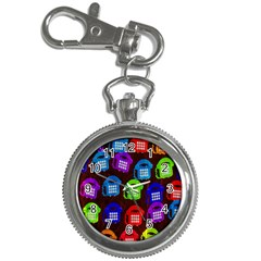 Grunge Telephone Background Pattern Key Chain Watches