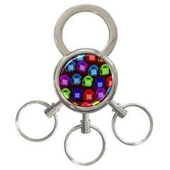 Grunge Telephone Background Pattern 3 Ring Key Chains