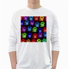Grunge Telephone Background Pattern White Long Sleeve T Shirts