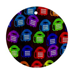 Grunge Telephone Background Pattern Round Ornament (two Sides)