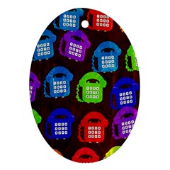 Grunge Telephone Background Pattern Oval Ornament (two Sides)