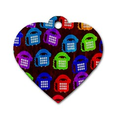 Grunge Telephone Background Pattern Dog Tag Heart (two Sides)