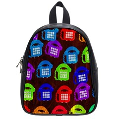 Grunge Telephone Background Pattern School Bags (small)