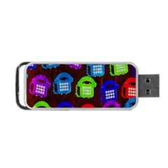 Grunge Telephone Background Pattern Portable Usb Flash (two Sides)