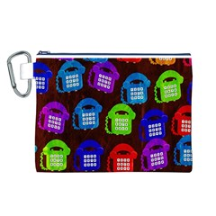 Grunge Telephone Background Pattern Canvas Cosmetic Bag (l)