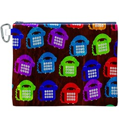 Grunge Telephone Background Pattern Canvas Cosmetic Bag (XXXL)