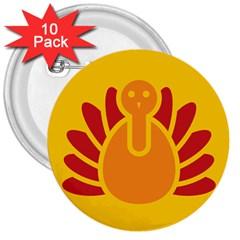 Animals Bird Pet Turkey Red Orange Yellow 3  Buttons (10 pack)