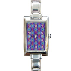 Red Blue Bee Hive Pattern Rectangle Italian Charm Watch