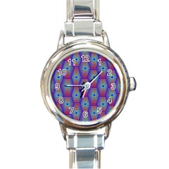 Red Blue Bee Hive Pattern Round Italian Charm Watch